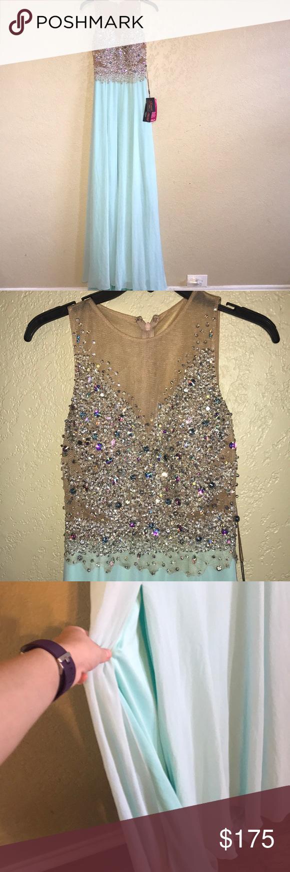 Nwt light aquamarine prom dress w rhinestones nwt my posh