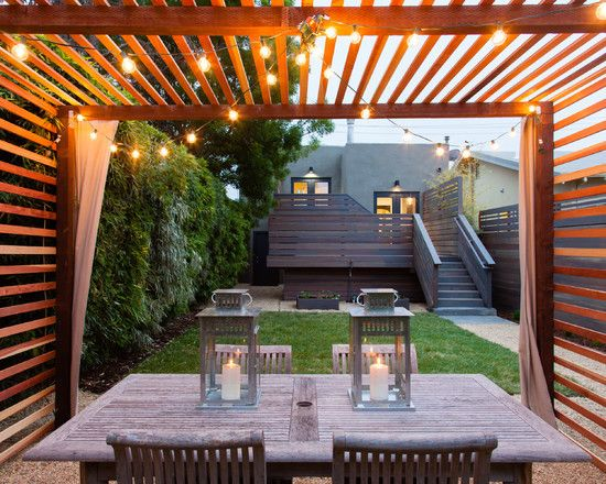 Modern Pergola | Terrace Seating | String Lights | Patio Lighting |  Backyard Ideas - String Lights Living Well, Outdoors! Pinterest Patio, Pergola
