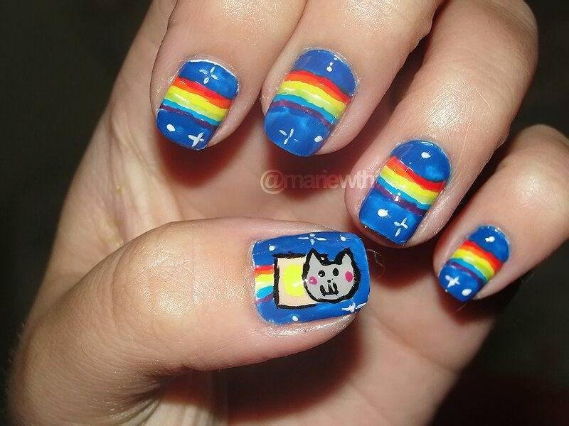 Nyan Cat Nails!! @Christina hehe (OMG I WANNA DO THIS!!)