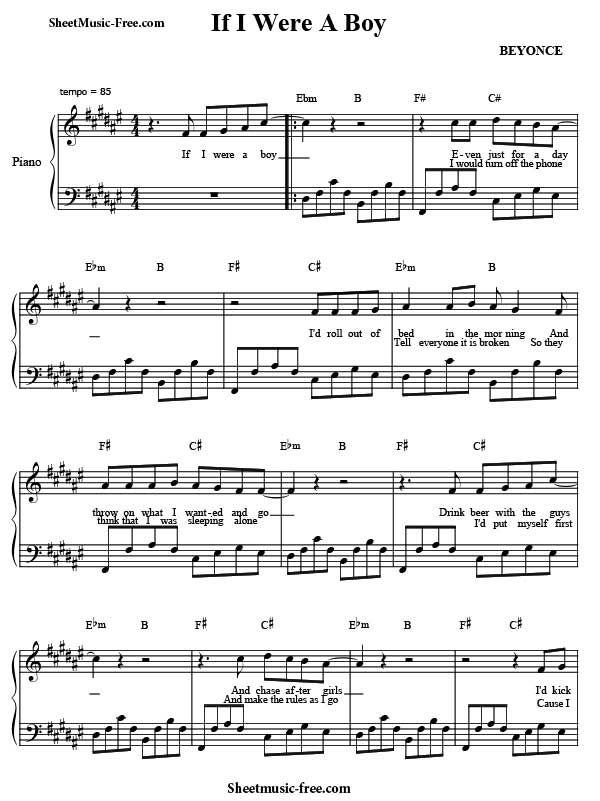 Lyric ariana grande piano lyrics : If I Were A Boy Sheet Music Beyonce Download If I Were A Boy Piano ...