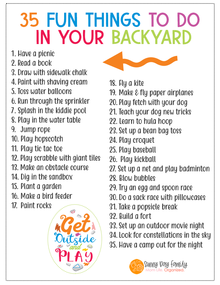 35 Things To Do In Your Backyard Summer Activities For Kids Activities For Kids Summer Kids