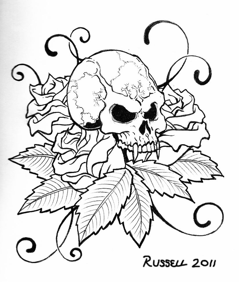 Tattoo Coloring Pages Printable Skull Designs