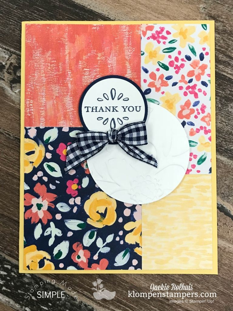 4 simple handmade cards featuring garden impressions