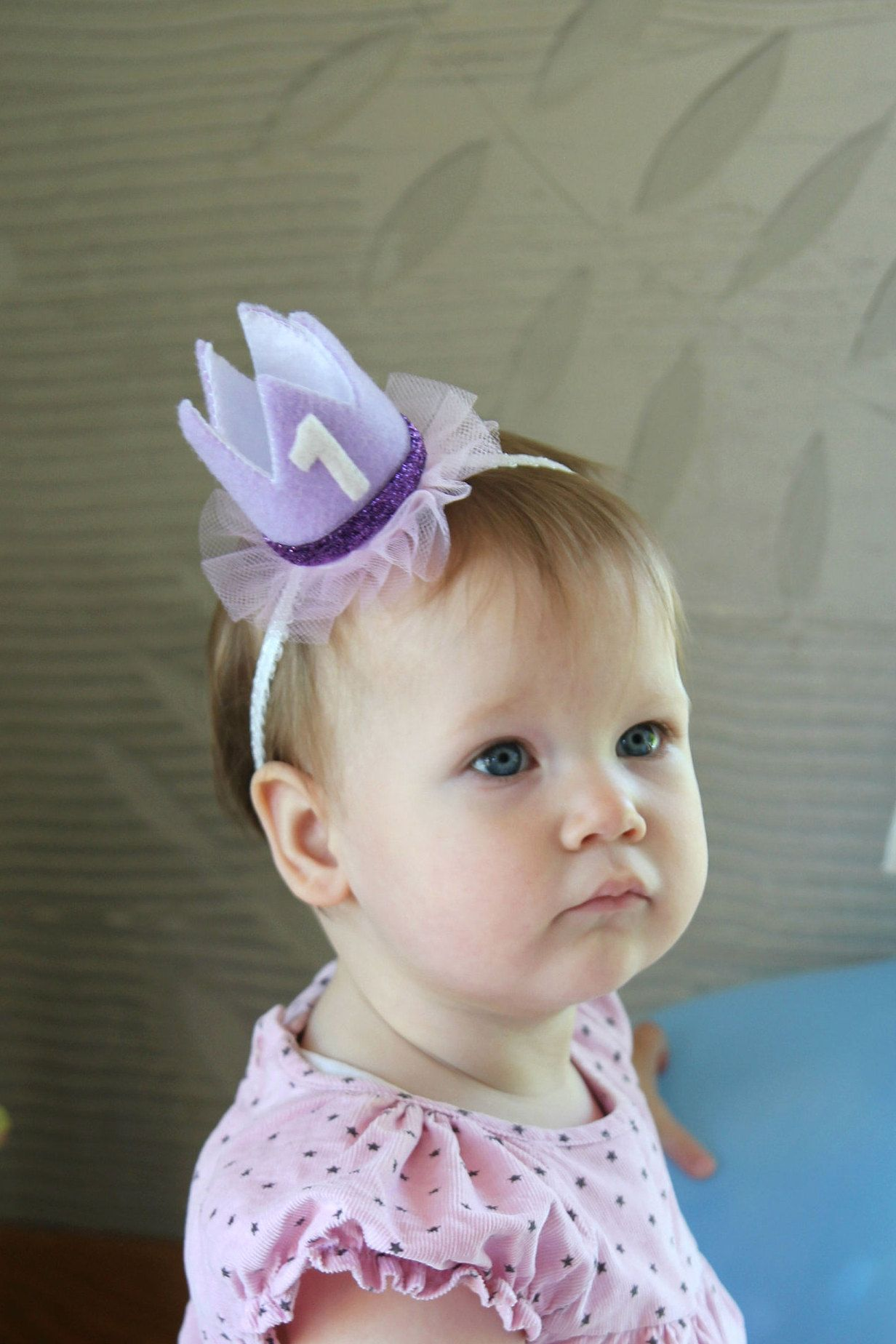 Purple felt crown with number 1 for a baby girl first birthday party -  Adorable 1st birthday headband crown - princess theme birthday outfit 8c6903a6982
