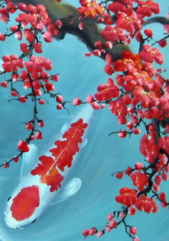 plum blossom koi fish painting ilustraci n pintura japonesa acuarela y arte pintura. Black Bedroom Furniture Sets. Home Design Ideas