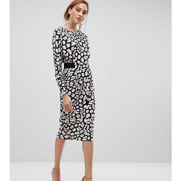 7e63d17e27c ASOS TALL Midi Dress with Elastic Waist Detail In Leopard Print ...