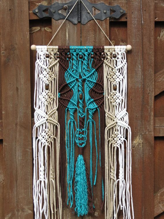 Macrame Wall Hanging Turquoise Macrame Wall Art Bohemian Wall Tapestry Large Tribal Wall Decor Wall Hanging With Beads Hippie Macrame