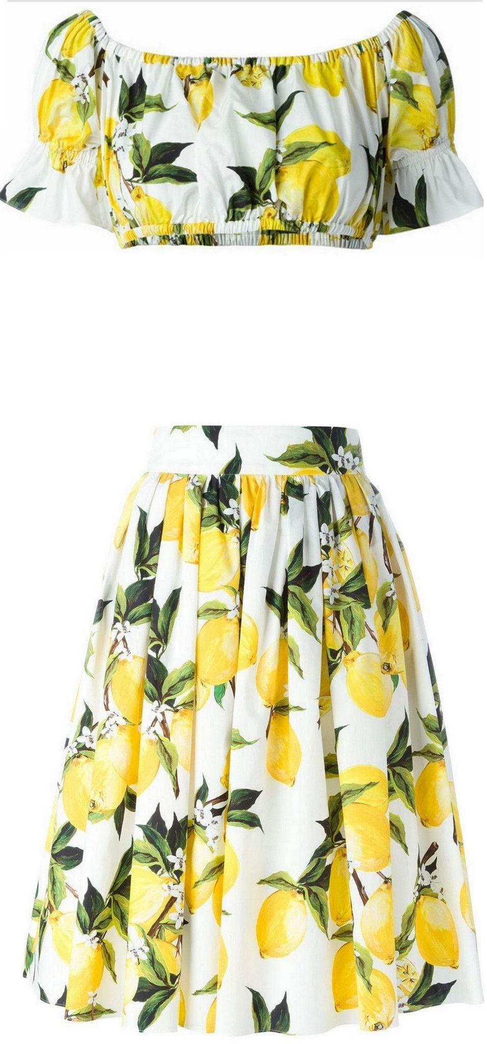 03cc0f136e Lemon Printed Off-the-Shoulder Bandeau Top & Matching Skirt ...