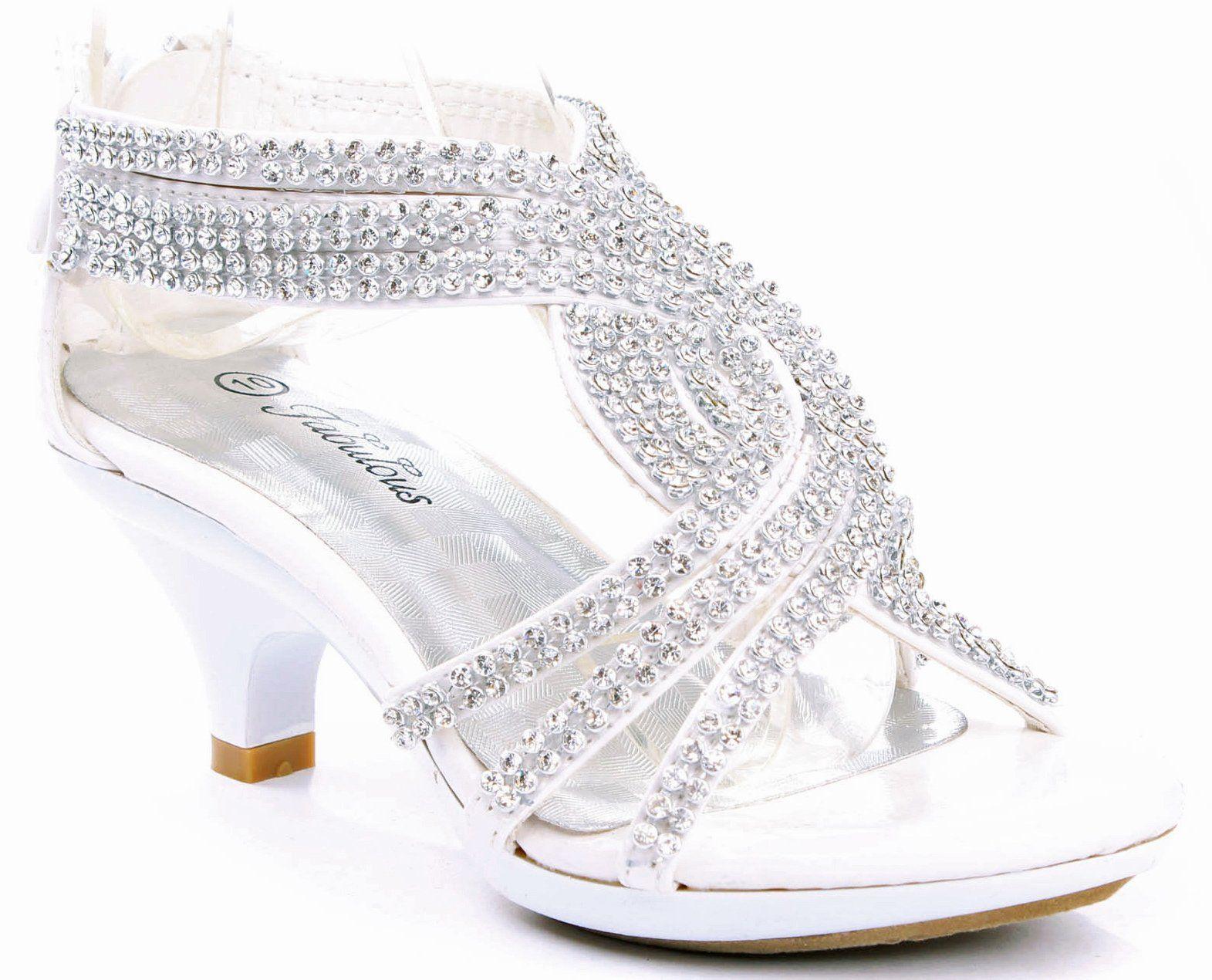 0da287ab28e5 JJF Shoes Angel-37 Kids White Little Girls Bling Rhinestone Platform Dress  Heels Sandals-9