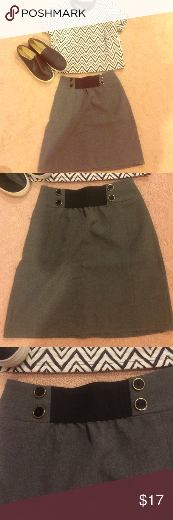 Urban Outfitters Grey Button Front Skirt NWOT Adorable skirt for work or play! Features an A-line cut and elastic and button details on the waist. Matches almost anything! NWOT; runs a little small! Urban Outfitters Skirts
