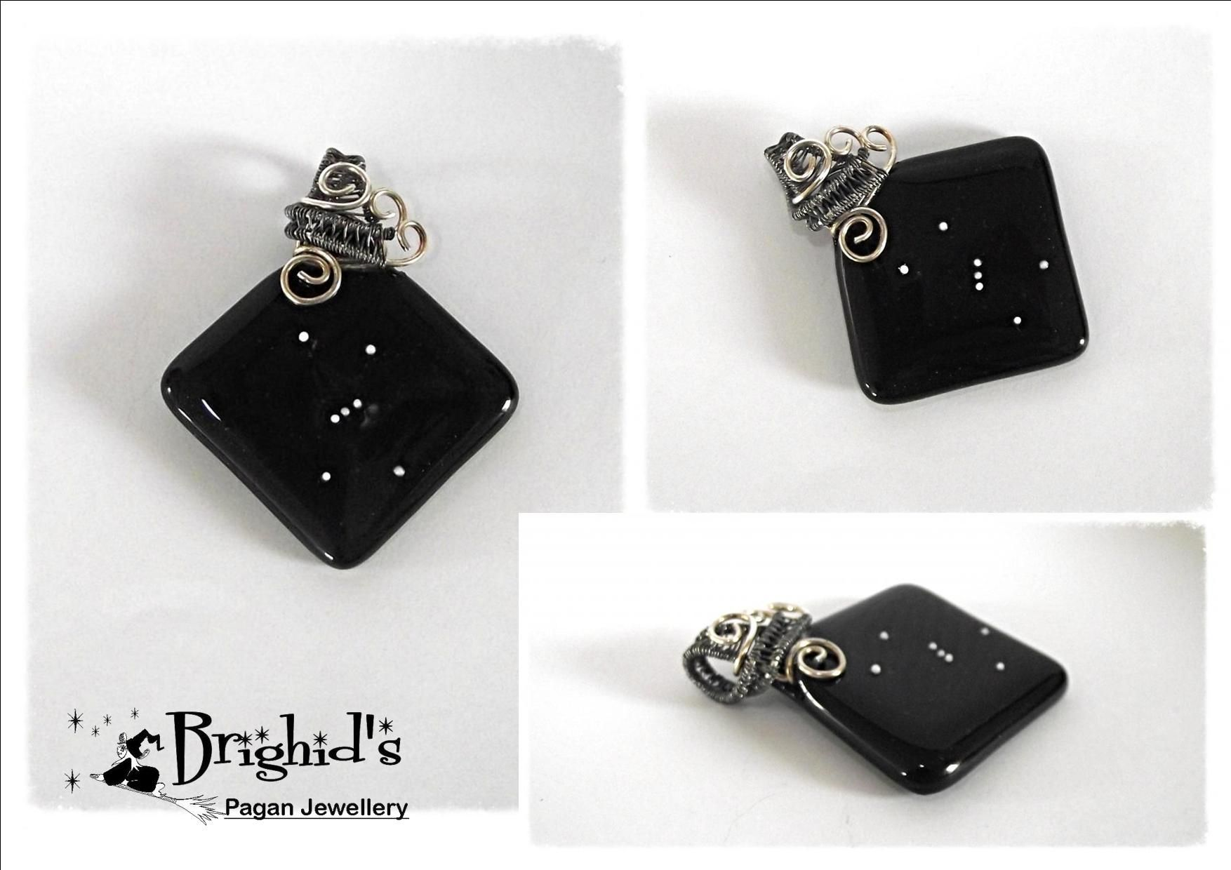 Constellation Of Orion Wire Wrapped Glass Pendant