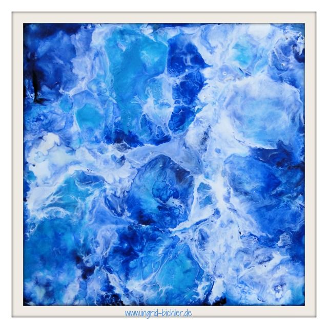water V 15 x 15 cm Hot beeswax on panel *abstract and mixed media artist* www.ingrid-bichler.de