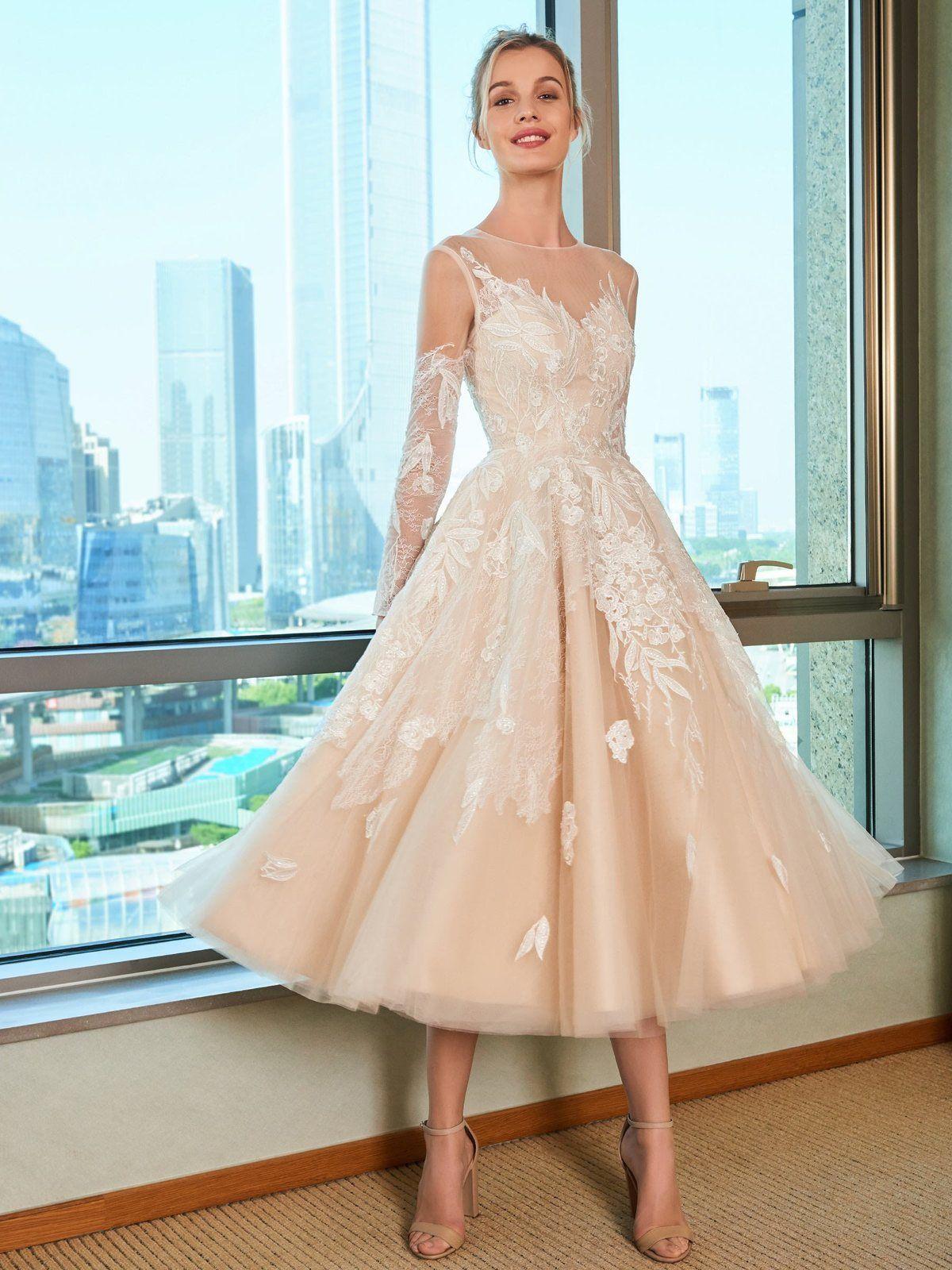 Material Tulle Body Shape All Sizes Silhouette A Line Hemline Tea Length Neckl Tea Length Wedding Dress Tea Length Beach Wedding Dresses Tea Length Dresses [ 1600 x 1200 Pixel ]