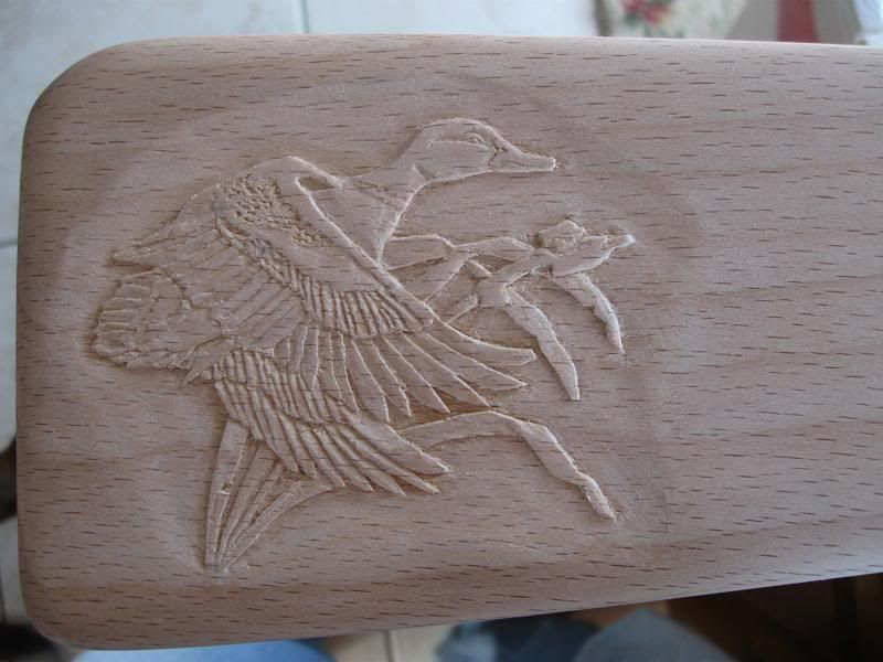 Gunstock relief carving carved shotgun shot gun