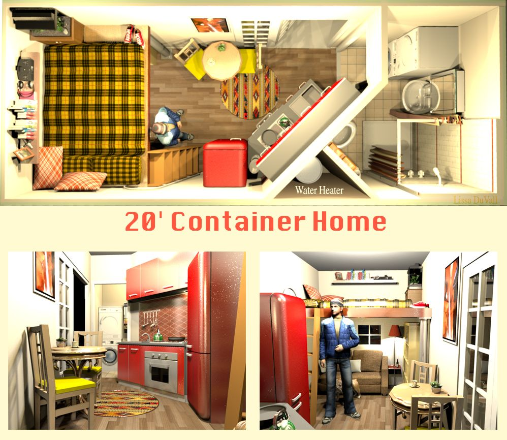 20 X8 Container Home Full Size Bed A Very Space Efficient Floor Plan For A Container Ho Tiny House Shipping Container Container House Tiny House Floor Plans