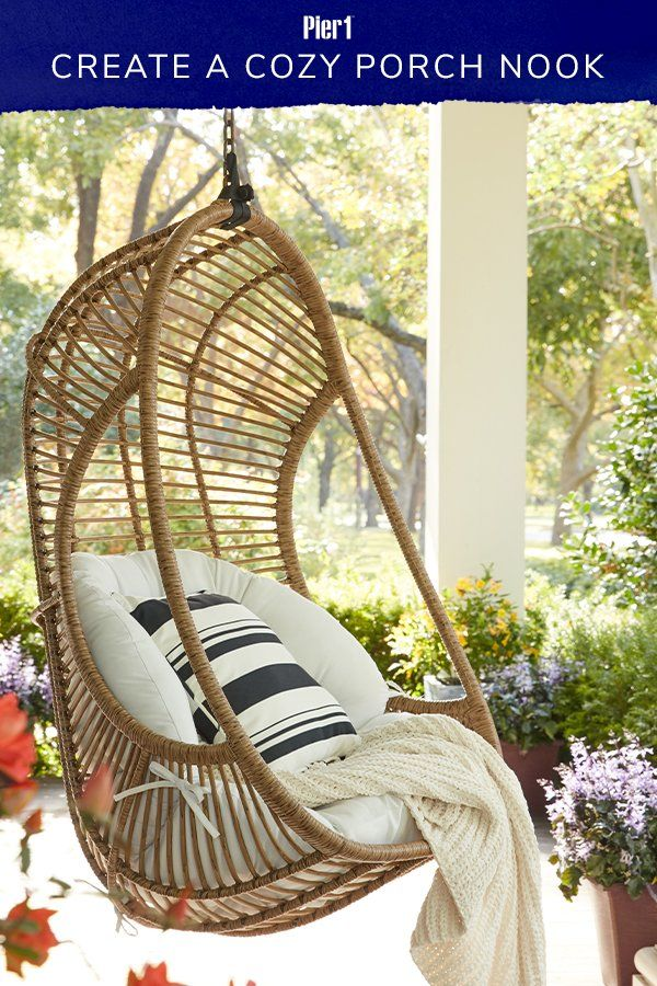 A Hanging Chair Saves Space And Creates An Instant Nook Anywhere Including Your Covered Patio Visit In 2020 Hanging Chair Outdoor Front Porch Chairs Porch Swing Chair