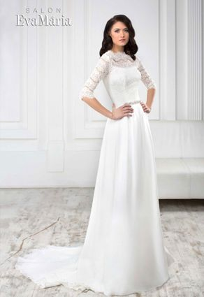 87240c478e84 Svadobné šaty so šperkovým výstrihom s padavou sukňou s dlhou vlečkou