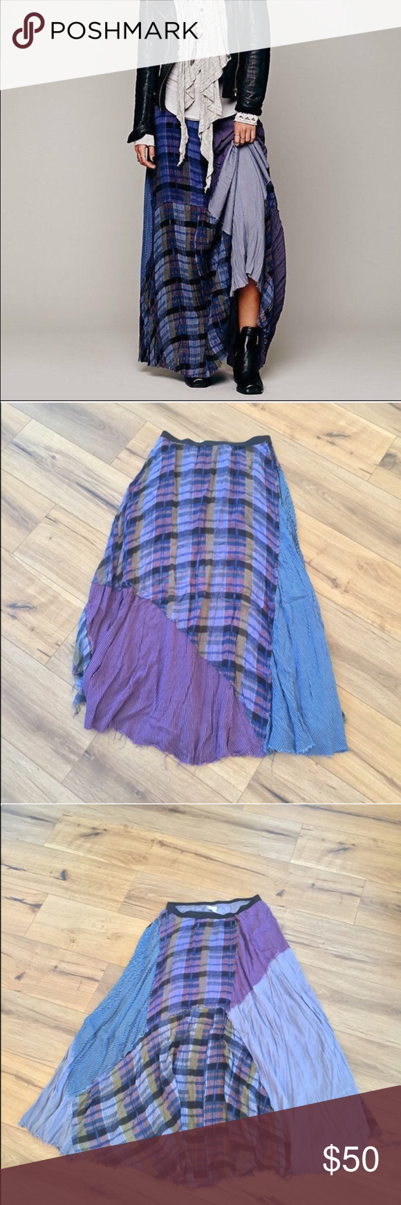 e76fc028e0 fp one 'royal' blue plaid patchwork maxi skirt pieced together plaid  patchwork maxi with