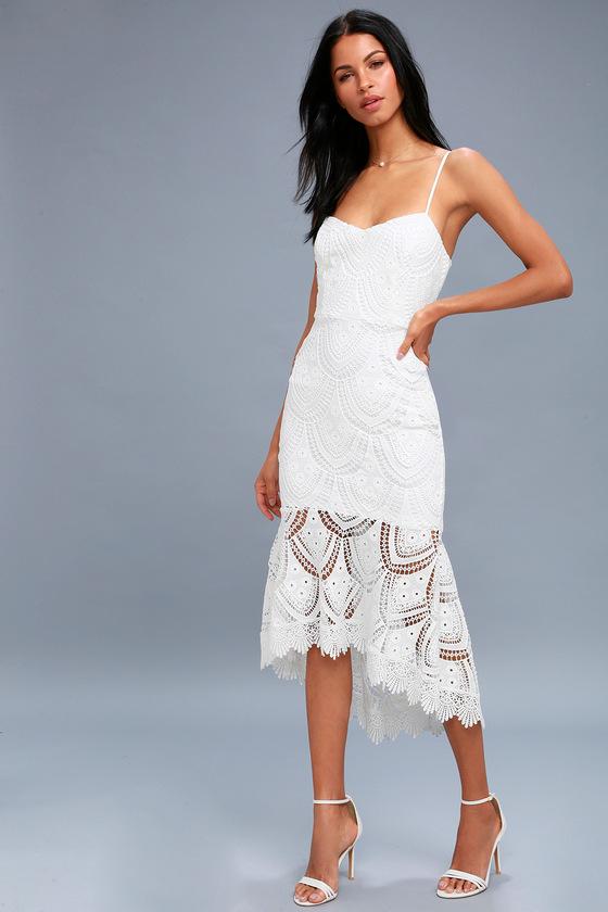 0347c3c79e9ed Lulus | Pure Passion White Lace Bodycon Midi Dress | Size Small ...