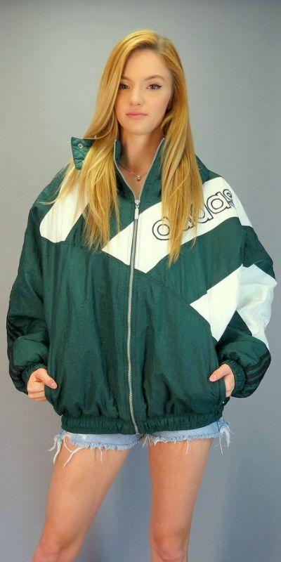f7daeb5a Vintage 90s ADIDAS Hooded Windbreaker Green Color Block Puffy Jacket ...