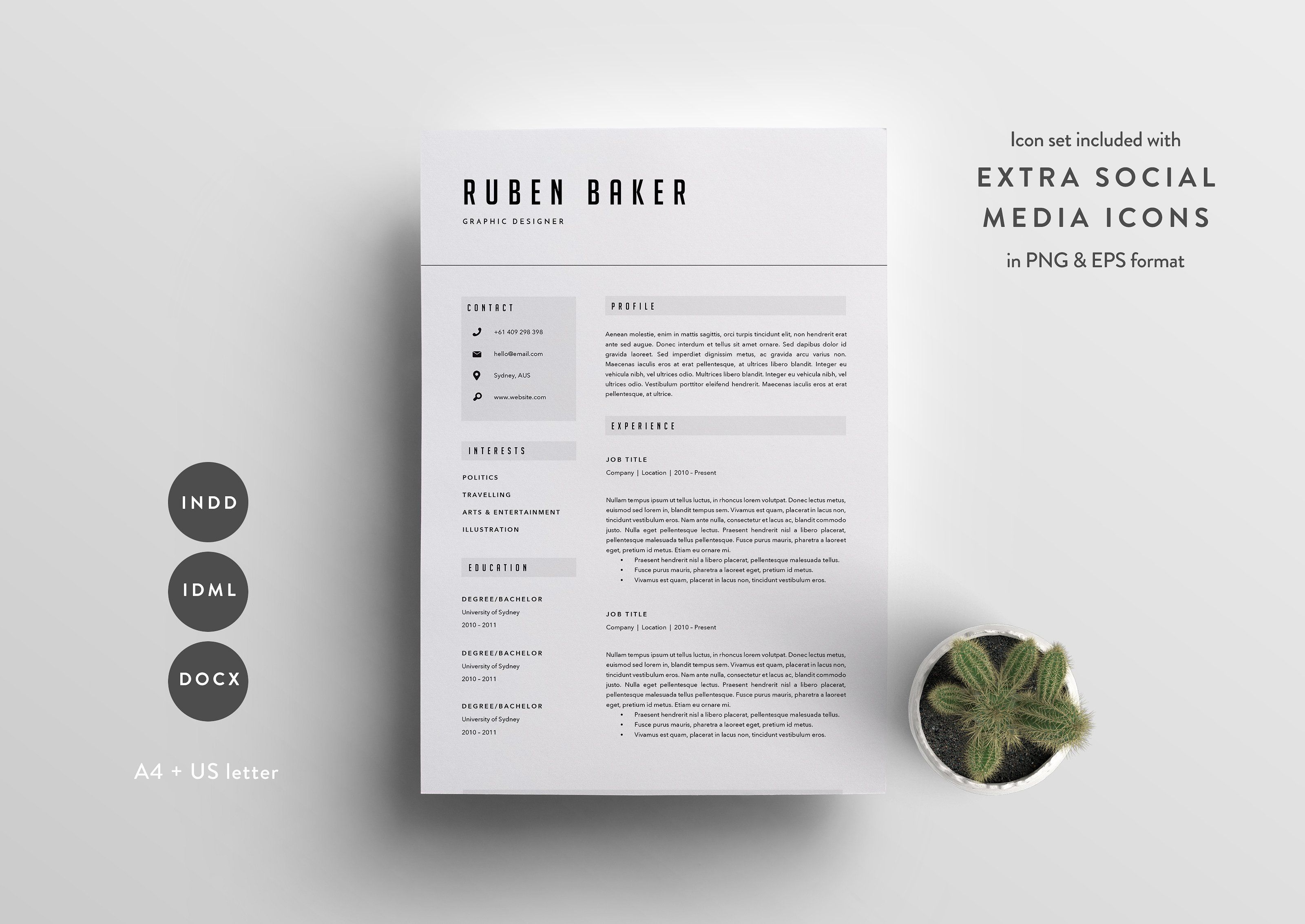 Resume Template Page Cv Template By The