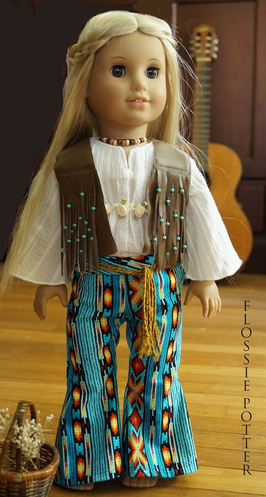 Flossie Potter Hip-Hugger Bell Bottoms Doll Clothes Pattern 18 inch American Girl Dolls | Pixie Faire