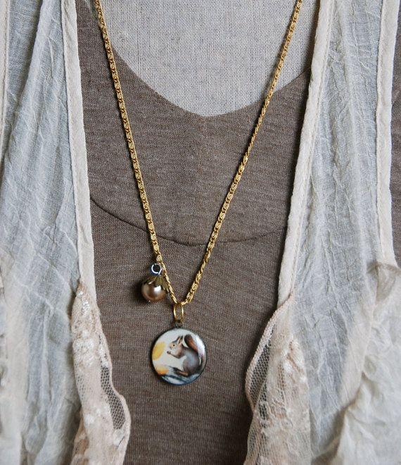 Squirrel necklace. woodland necklace. Tiedupmemories