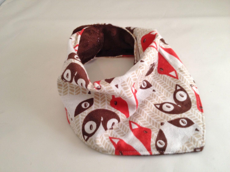 Fox & Owl/Bandana Bib/Baby Bib/Drool Bib/Dribble Bib/Minky Fabric/Cozy Flannel/Woodsy Fabric by OccasionalGoods on Etsy