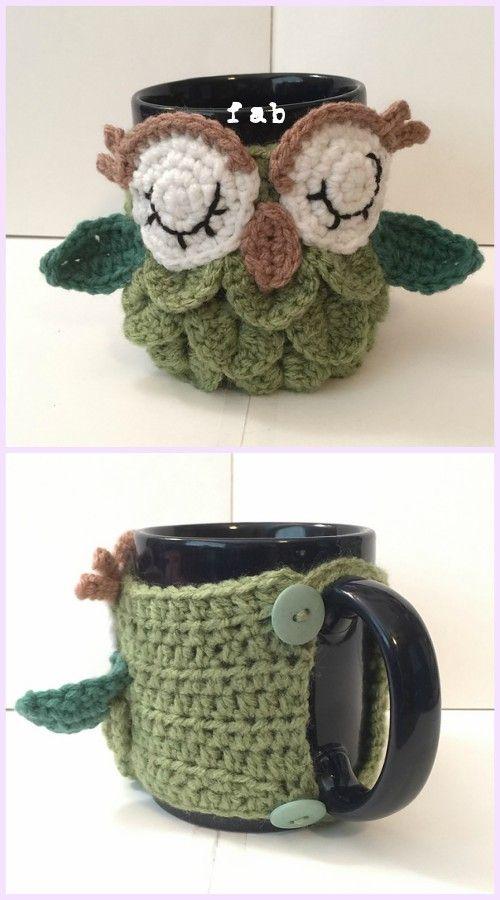 Crochet Crocodile Stitch Owl Free Patterns | Taza acogedora, Tejido ...