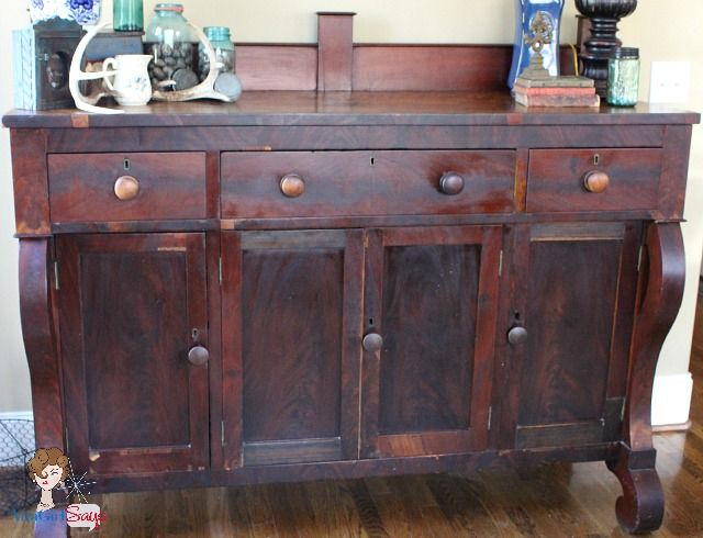 antique empire sideboard estate sale find... We have a piece of antique  empire furniture - a dresser/desk - that was my husband's great-great  grandfather ... - Estate Sale Find: Antique Empire Sideboard Refinishing-Remaking