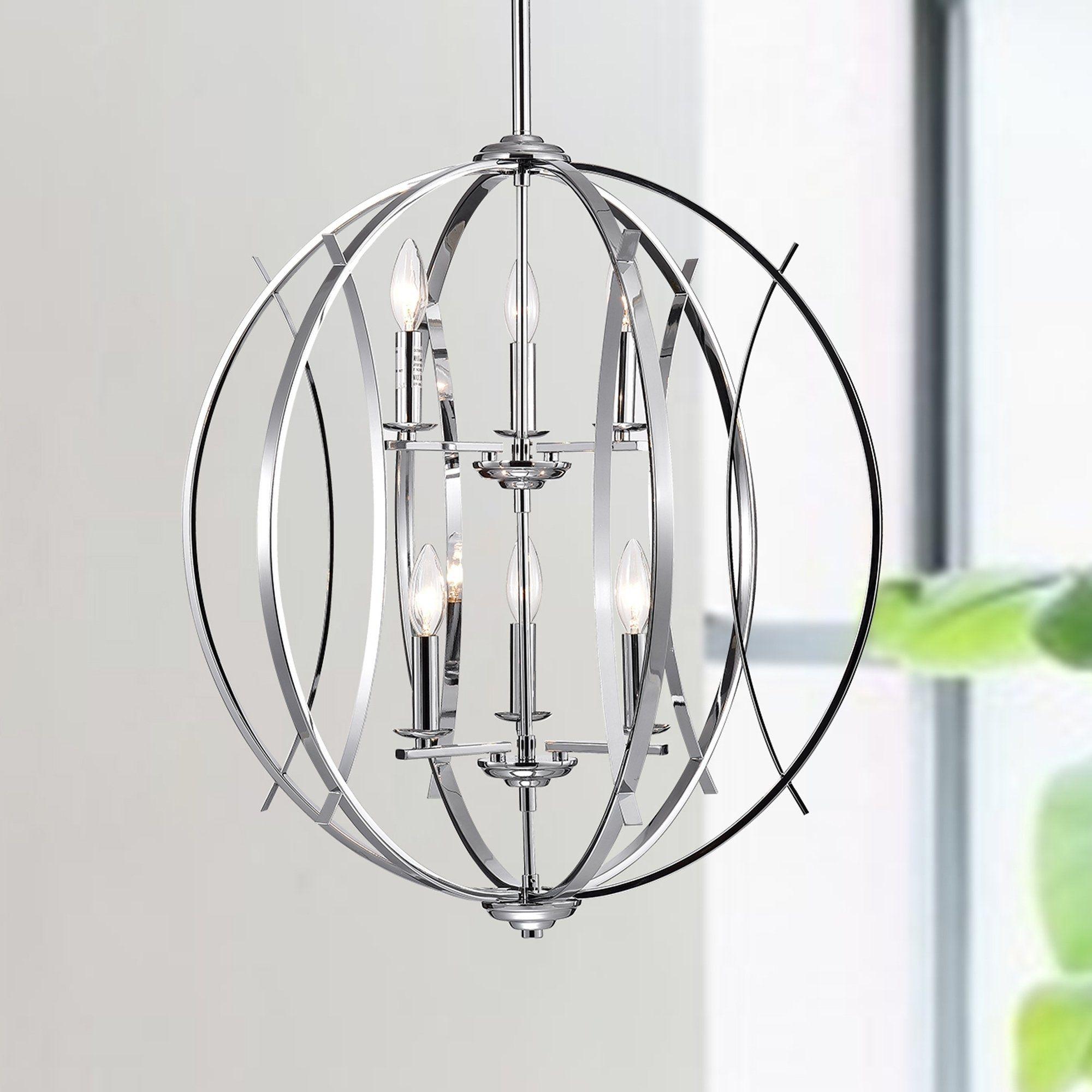 Carshon Chrome 6 Light Two Tier Globe Pendant Globe Pendant