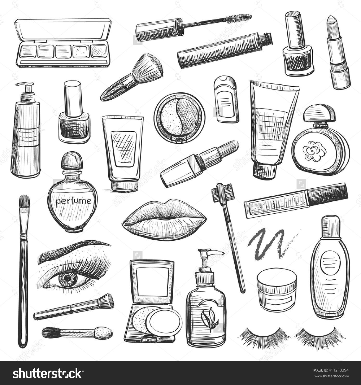 A Collection Of Sketches On Make Up Cosmetics Lipstick