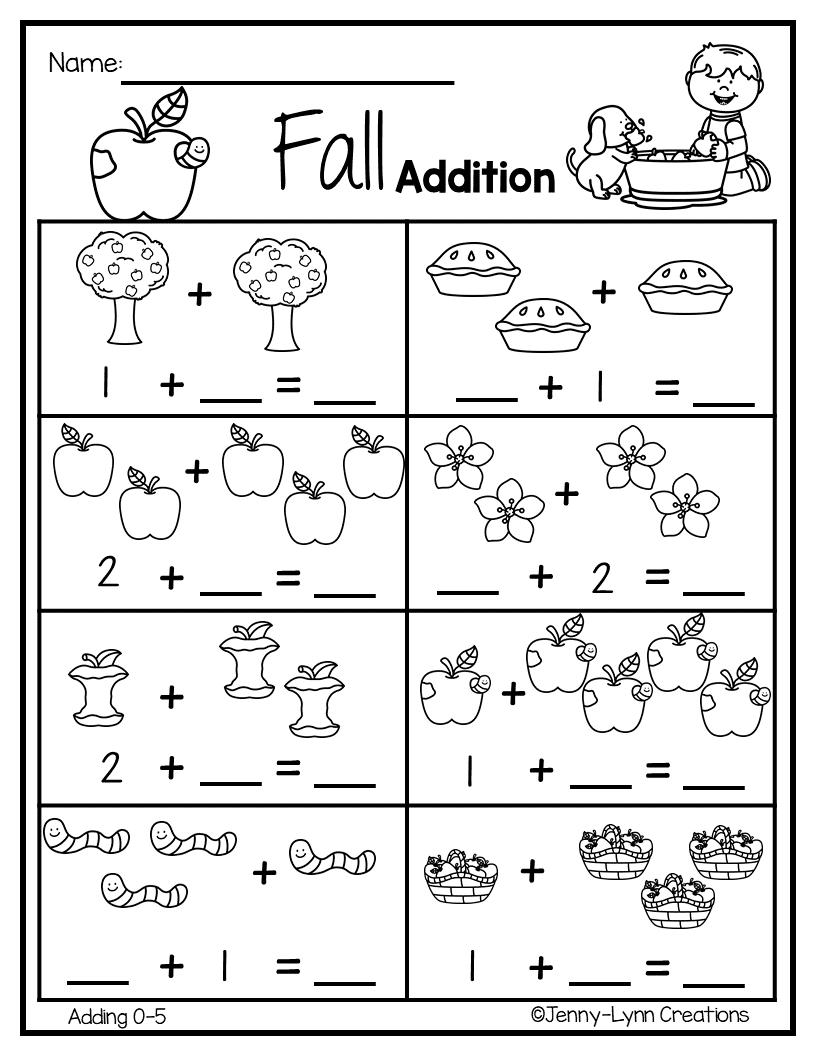 Fall Addition | math | Fun worksheets, Preschool worksheets ...