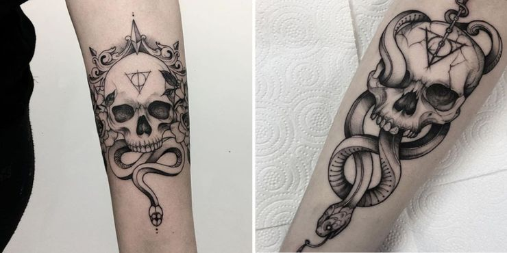 Not Every Harry Potter Fan Wants To Be Slytherin But Those In The Cunning Hogwarts Hous Slytherin Tattoo Harry Potter Tattoo Unique Harry Potter Tattoo Sleeve