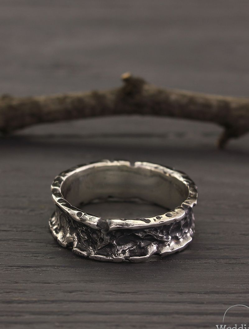 Exclusive Volcanic Wedding Band For Men And Women In Sterling