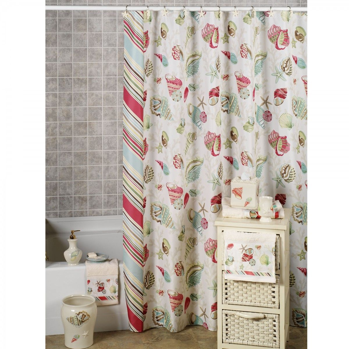 Ba bathroom curtains at sears - Coral Pattern Shower Curtains