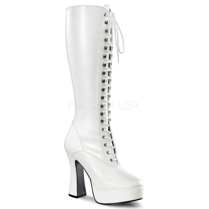 beff941eb0a Pleaser Shoes Electra-2023 White Patent Knee High Boots Block Heel ...