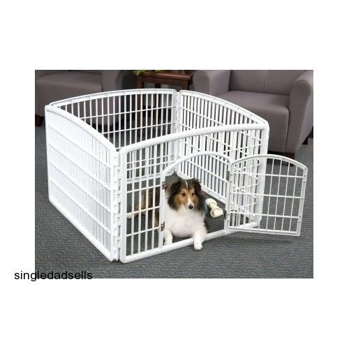 Attractive Plastic Pet Pen With 4 Panels White, Indoor/Outdoor Dog Play Area, Portable