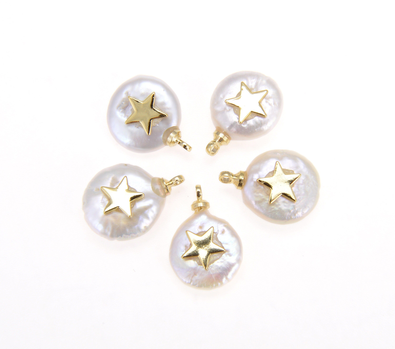 Fresh Water Pearl Star, Pearl Star Pendant, 18K Gold Filled Dainty Star Charm, Micro Pave Star, Pearl Star, Charm, DIY  15x11mm, CP545-L724
