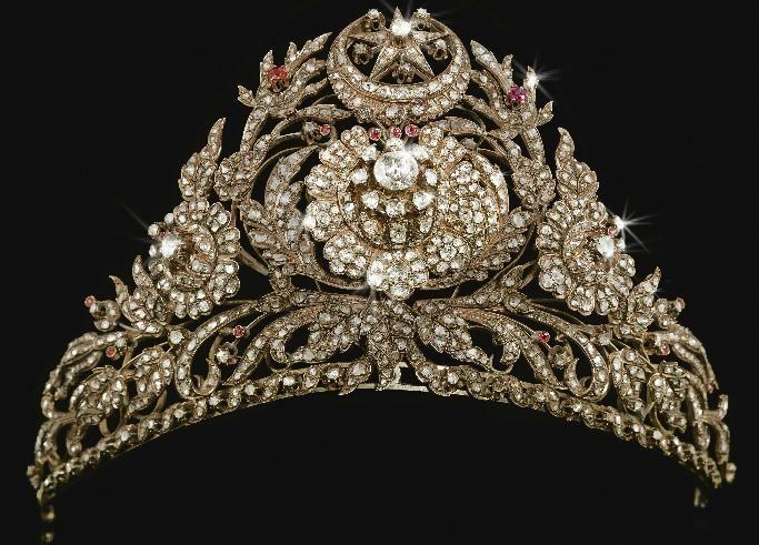 A diamond Ottoman Empire tiara, with the Islamic crescent ...