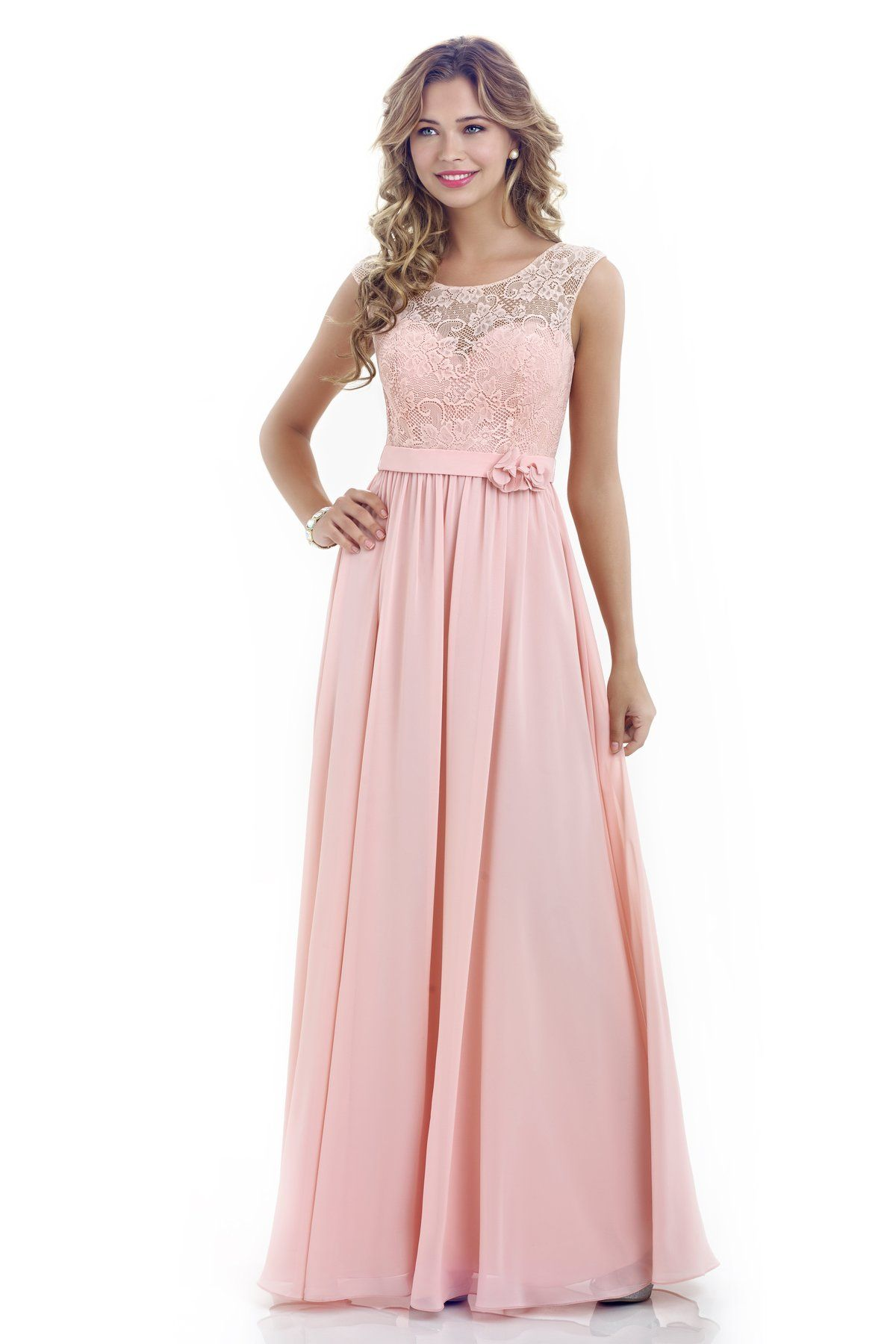 Alexia designs style 208l chiffon bridesmaid dress with for Wedding dress neckline styles
