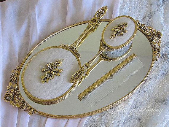 antique vanity brush mirror set - Google Search | AWESOME ...