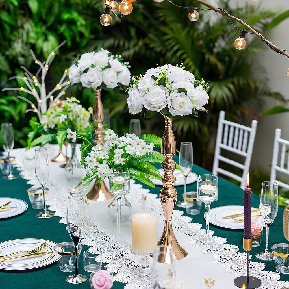 Set of 2 Versatile Metal Flower Arrangement /& Candle Holder Stand Set Candlelabra for Wedding Party Dinner Centerpiece Event Restaurant Hotel Decoration