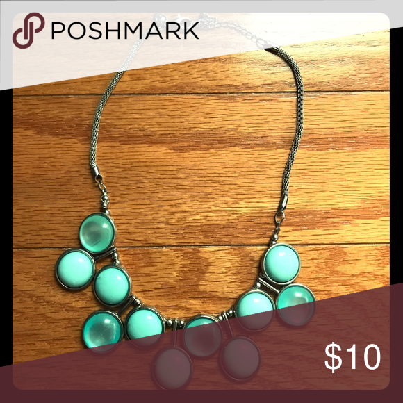 Necklace Fashion necklace. Silver with turquoise colored round stones. Jewelry Necklaces