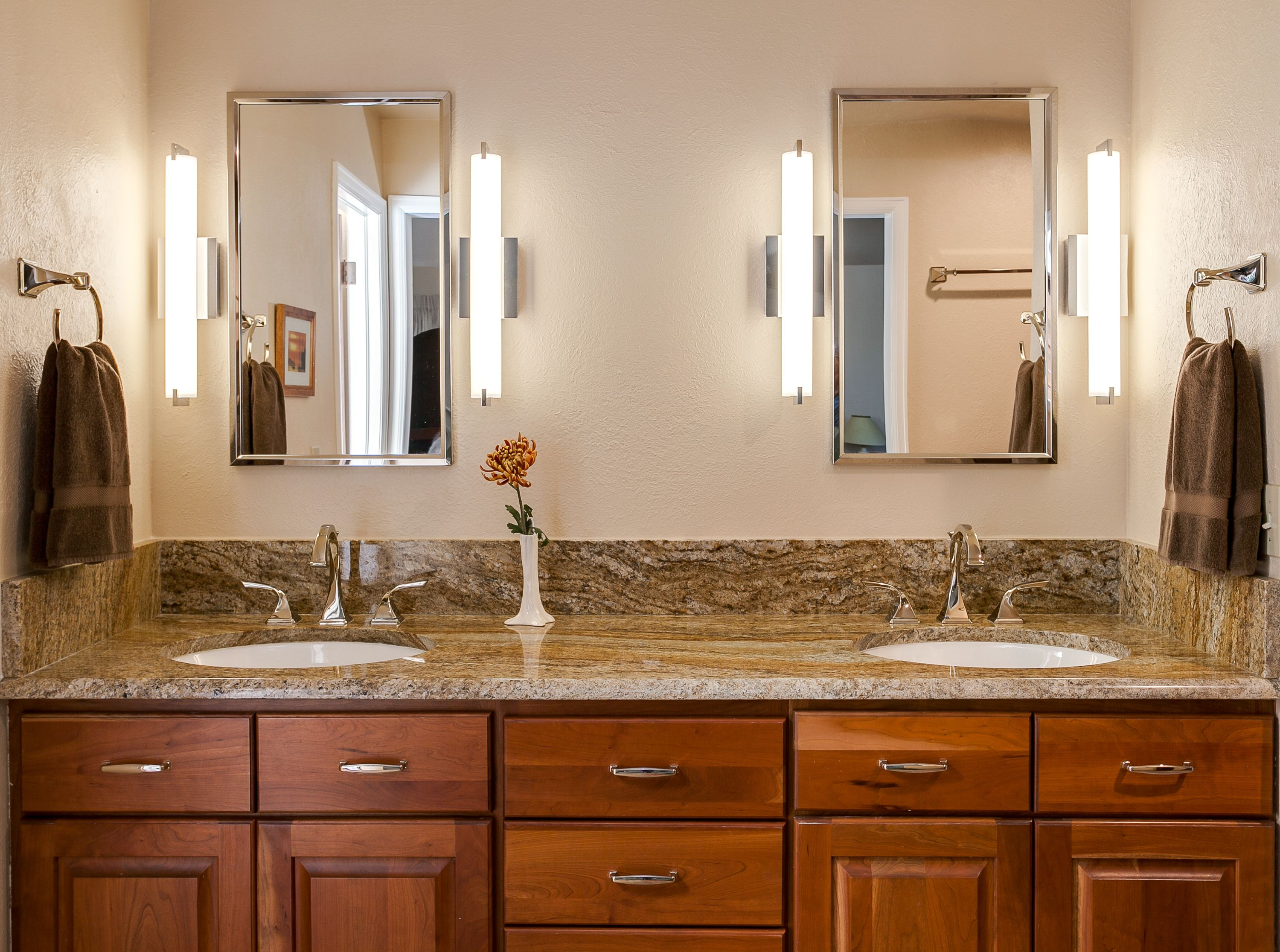 Double Vanity With Semi  Custom Cabinetry Below. #Bathroom #Design #Denver #