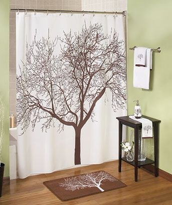 White Brown Tree Fabric Shower Curtain Branch In Stock Home Garden Bath Curtains