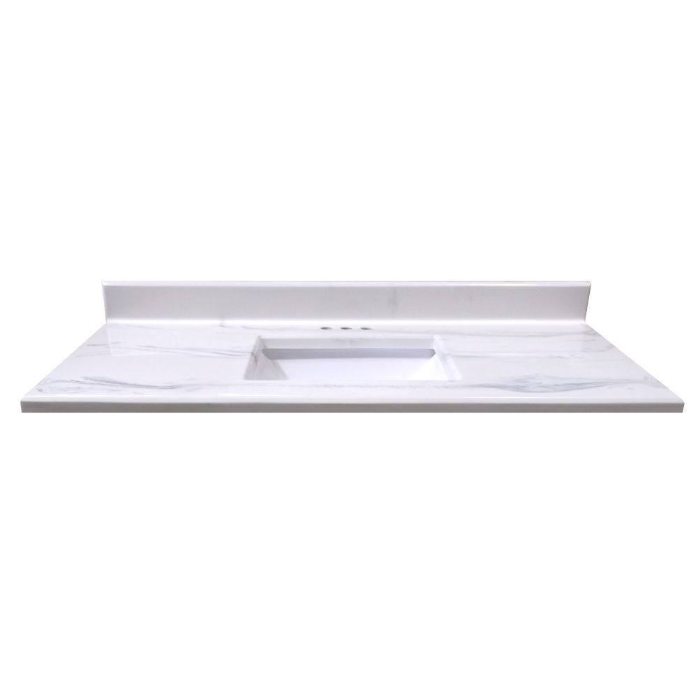 49-Inch W x 22-Inch D Montreal Italian Marble Vanity Top in White ...