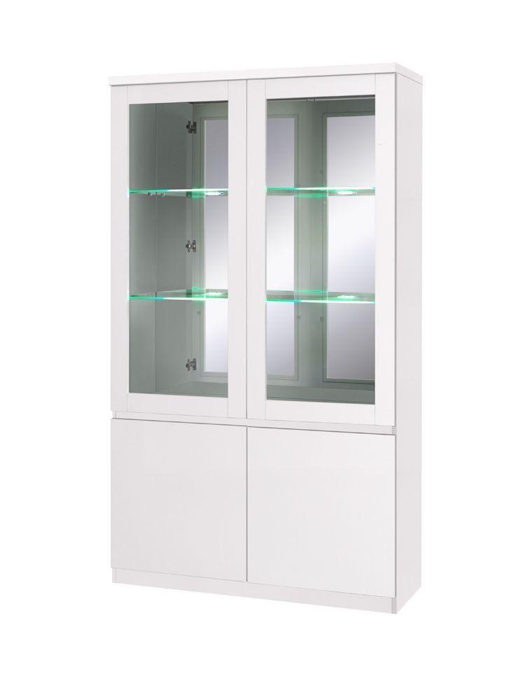 Vitrine weiß, zB als Esszimmervitrine Glaseinlegeböden (6 mm - wohnzimmer vitrine weis