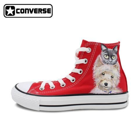 b8f2db9091aa Custom Red Converse Chuck Taylor Women Men Shoes Pets Cat Dog Original  Design Hand Painted Shoes Boys Girls Canvas Sneakers