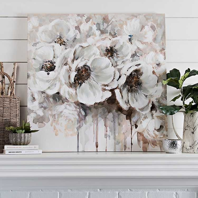 Silvery Flowers Canvas Art | Kirklands | Pinturas | Pinterest ...
